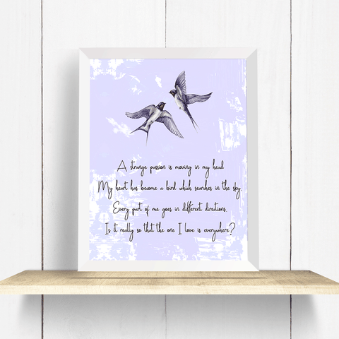Swallows with Rumi Quote Wall Art Print
