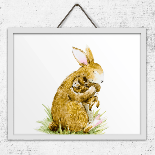 Baby and Mom Bunny Wall Art Print