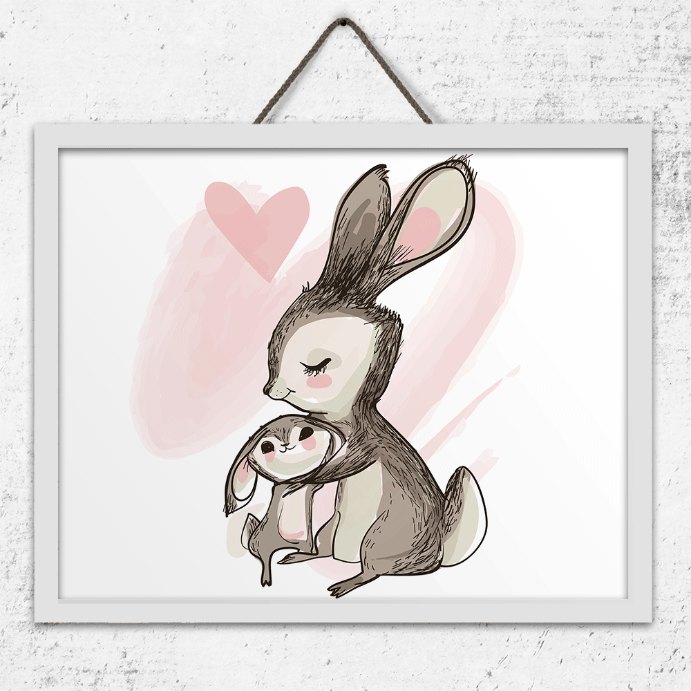 Mom and Baby Bunny - Art Print