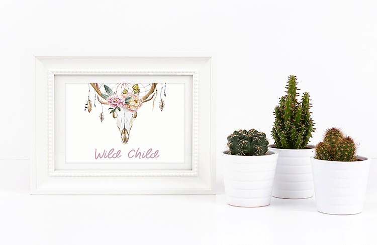 Custom Floral Deer Skull Wall Art Print