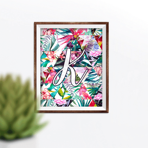 Custom Tropical Floral Initial Wall Art Print
