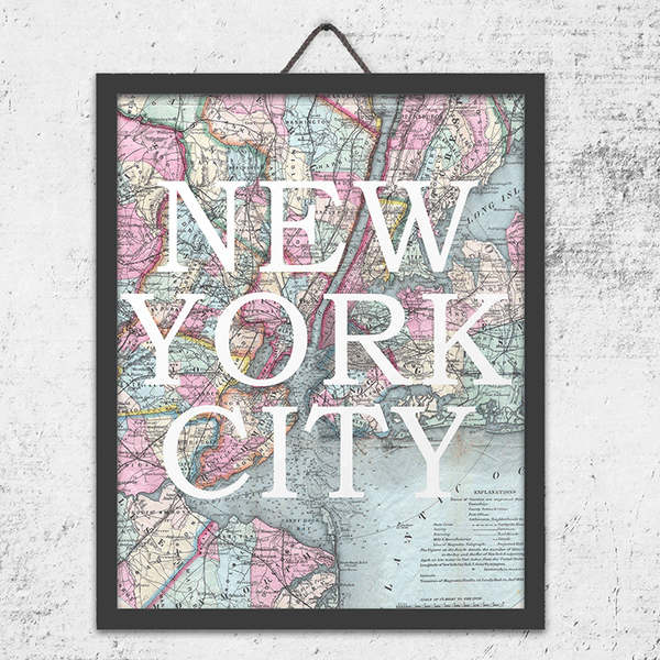 Vintage New York City Map Wall Art Print