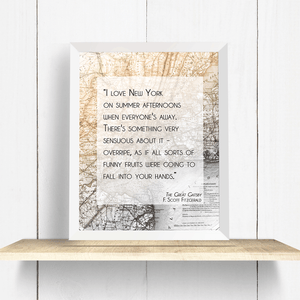 The Great Gatsby New York City Quote Wall Art Print