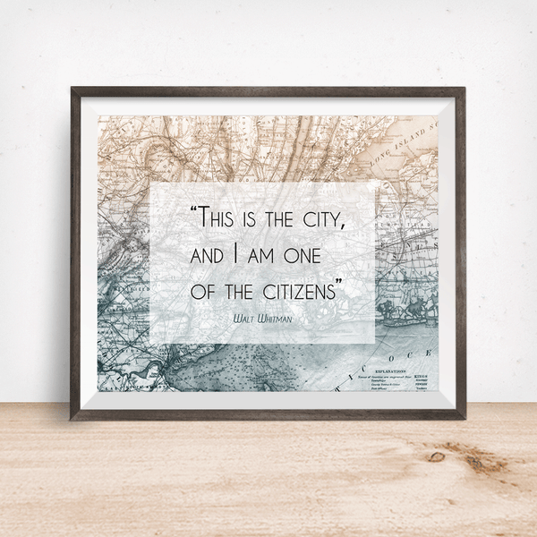 Walt Whitman New York City Quote Wall Art Print