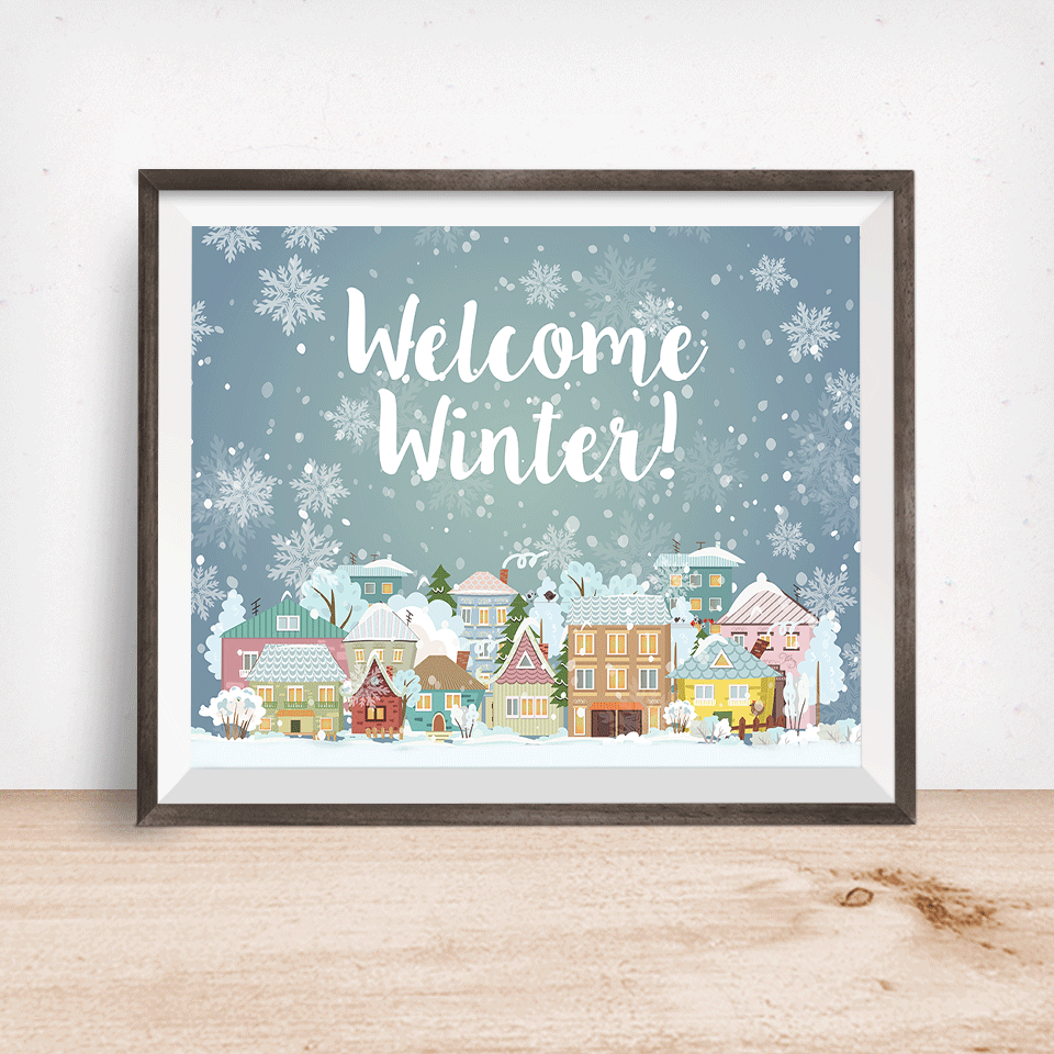 Welcome Winter Christmas Village Wall Art Print