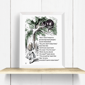 Alice in Wonderland Cheshire Cat Quote Wall Art Print