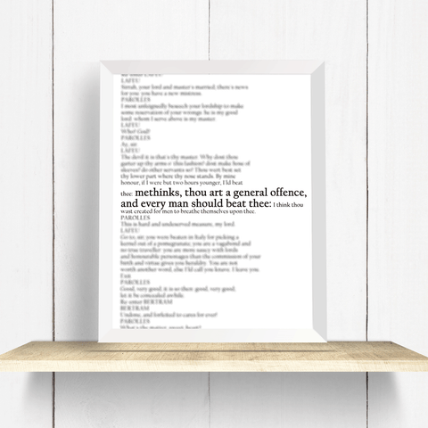 Shakespeare Funny Quote Wall Art Print