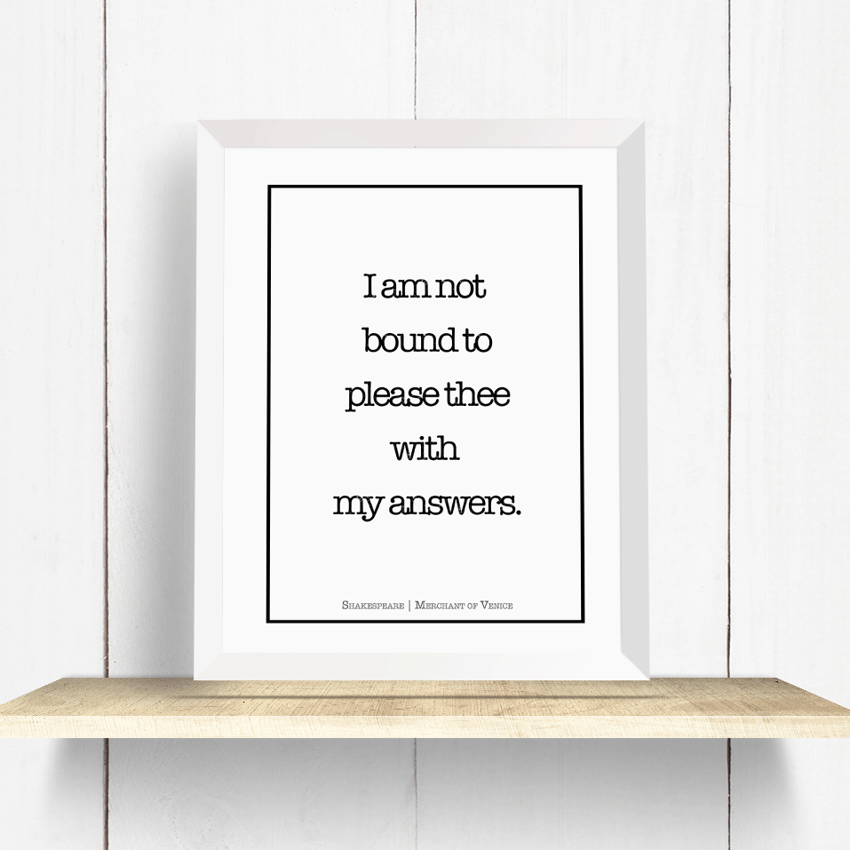 Snarky Shakespeare Quote Digital Download Printable Art