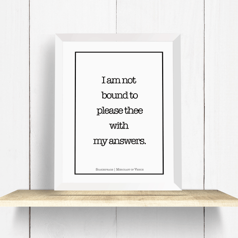 Shakespeare Merchant of Venice Wall Art Print