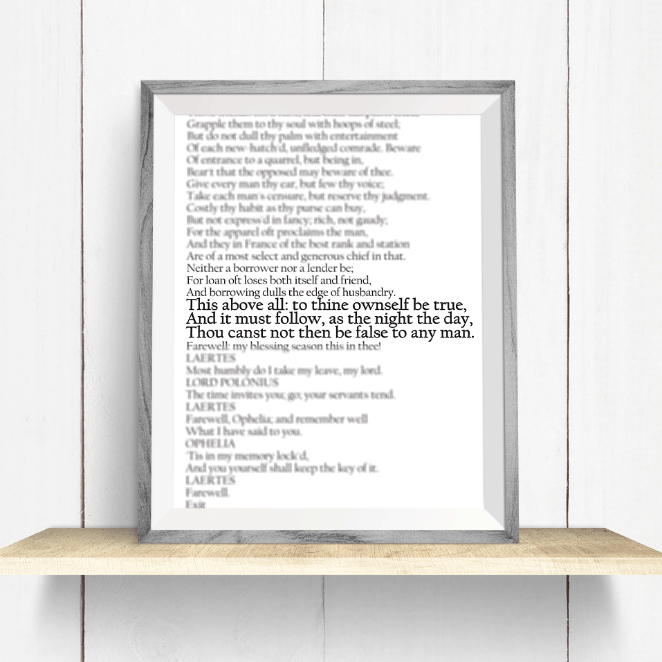 Shakespeare Hamlet Quote Wall Art Print