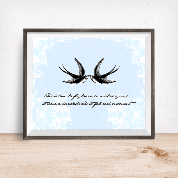 Rumi Love Quote with Swallows Wall Art Print