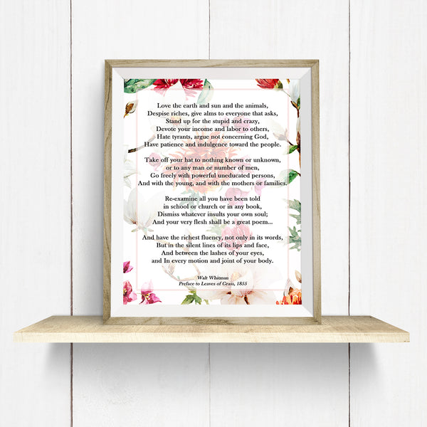 Walt Whitman Leaves of Grass Wall Art Print