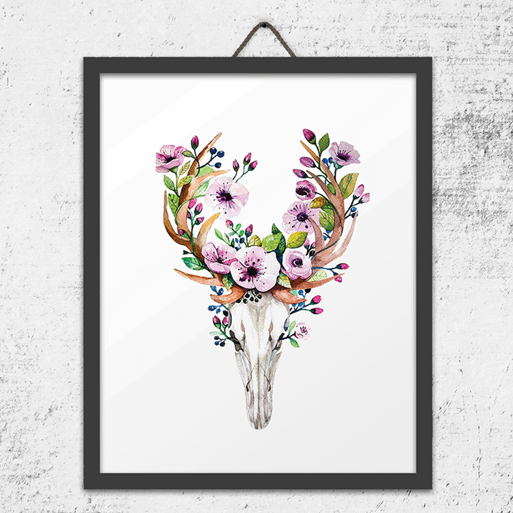 Floral Deer Skull Clear iPhone Case