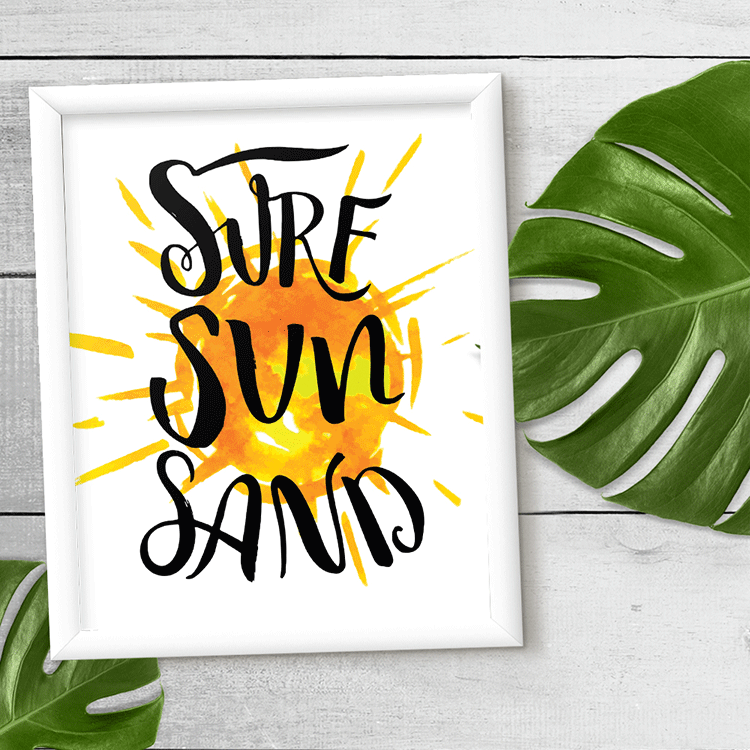 Surf Sun Sand Wall Art Print
