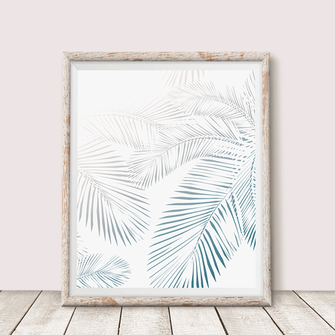 Pastel Palm tree Leaves Wall Art print