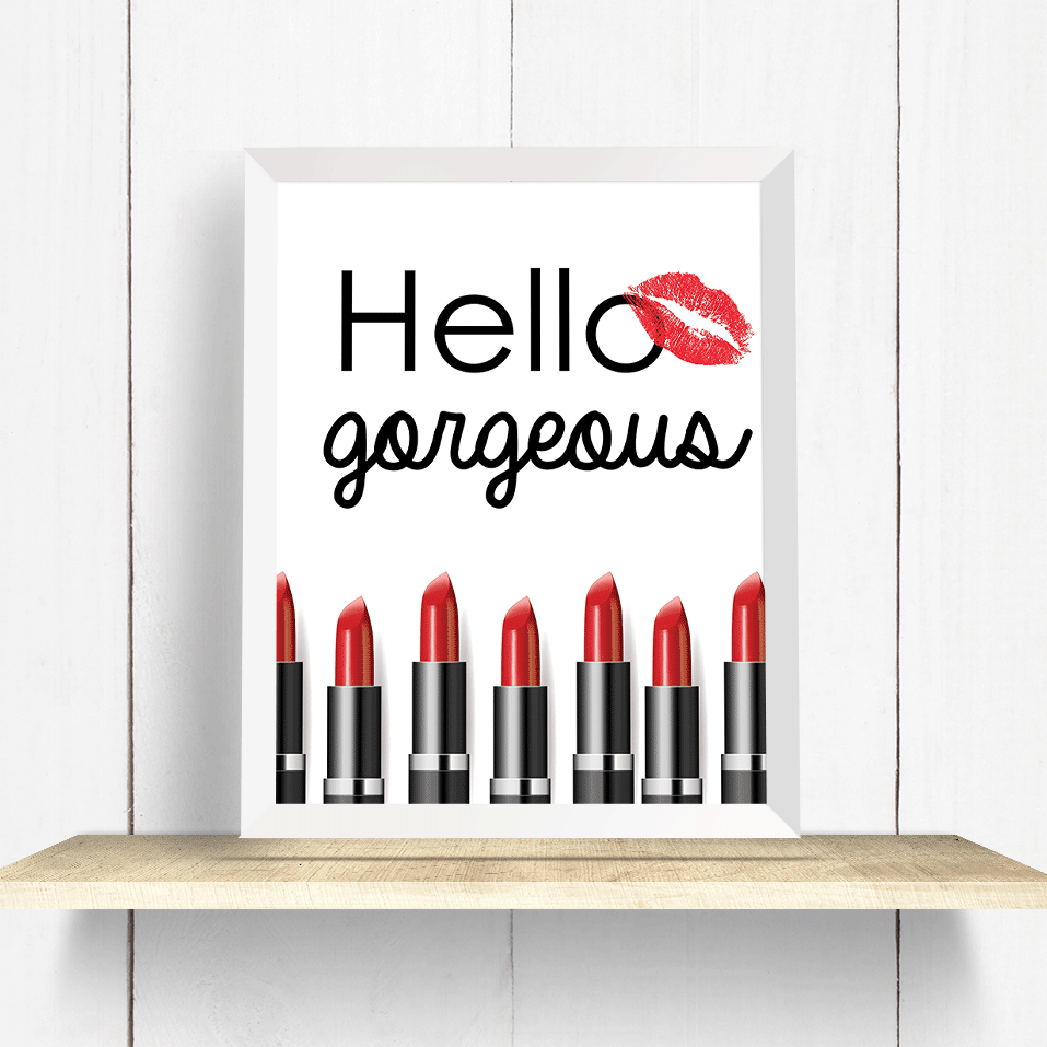 Hello Gorgeous Red Lipstick Wall Art Print