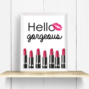 Hello Gorgeous Pink Lipstick Wall Art Print