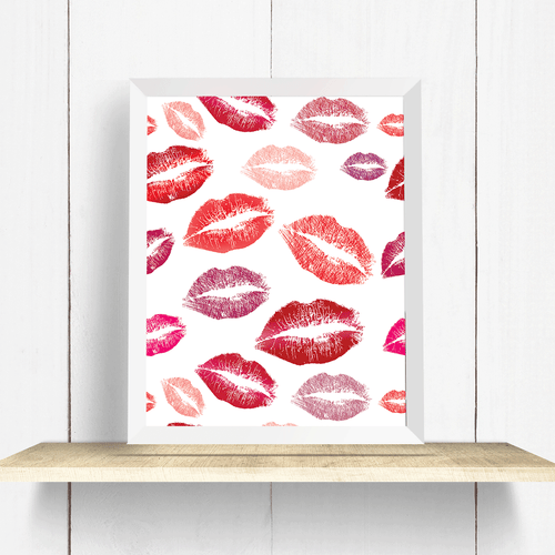 Lipstick Kisses Wall Art Print