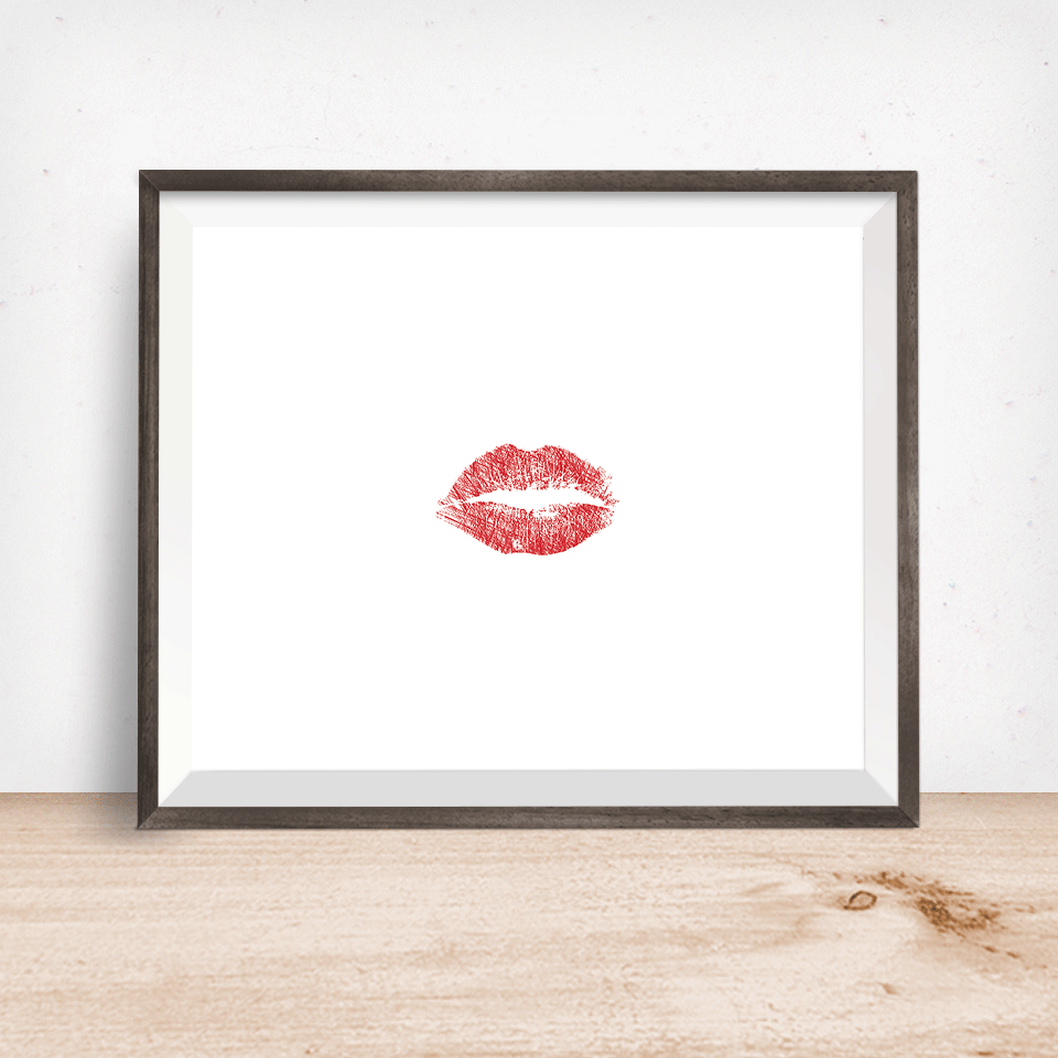 Red Lipstick Kiss Wall Art Print