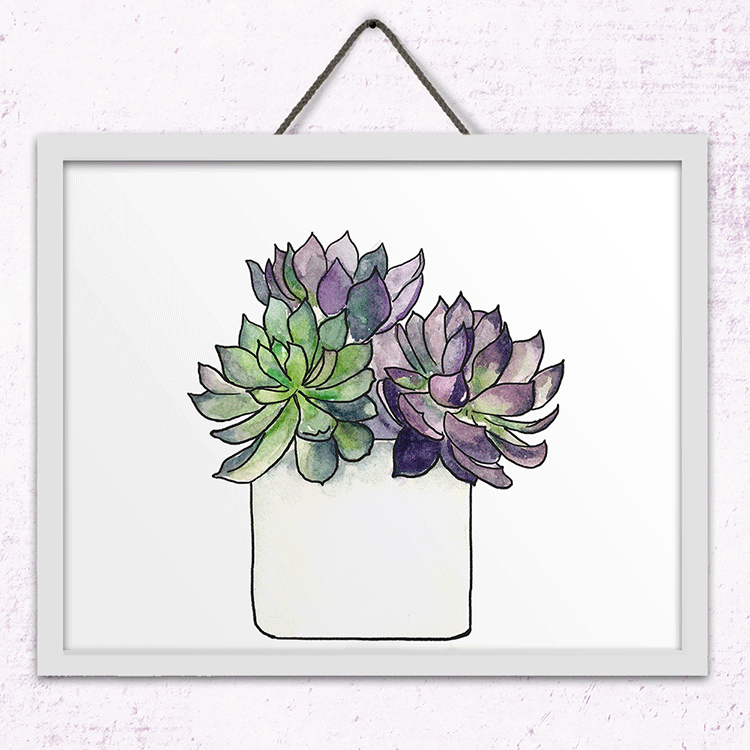Potted Succulent Wall Art Print