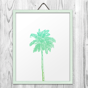Green Palm Tree Wall Art Print