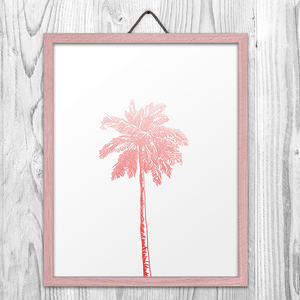 Pink Palm Tree Wall Art Print
