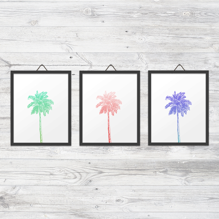 Set of 3 Palm Trees Wall Art Prints