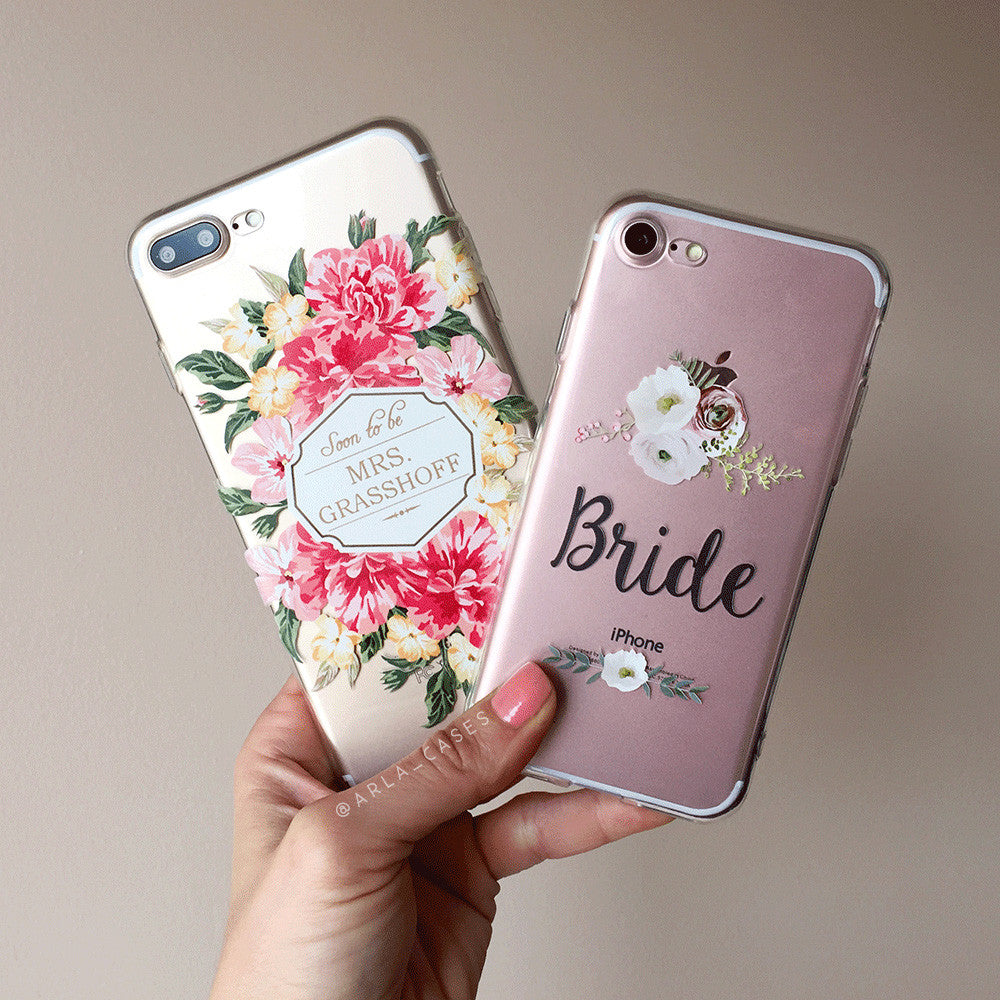 Bride Floral Wedding Phone Case - Clear Printed TPU