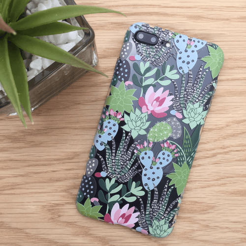 Succulents Cactus Clear iPhone and Galaxy Phone Case