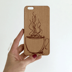 Coffee Doodle Wood iPhone and Galaxy Phone Case