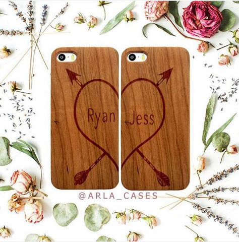 Custom Heart Names iPhone Case Set