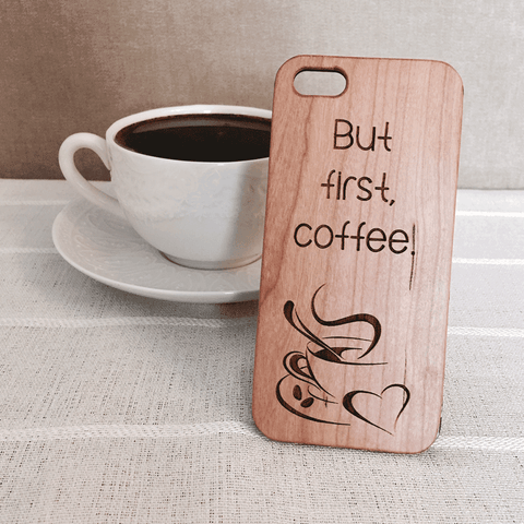 But First Coffee Wood Phone Case