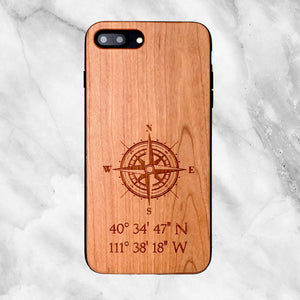 Custom Compass Coordinates Wood Phone Case