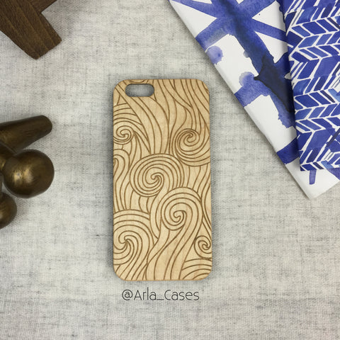 Swirls and Waves Wood Phone Case