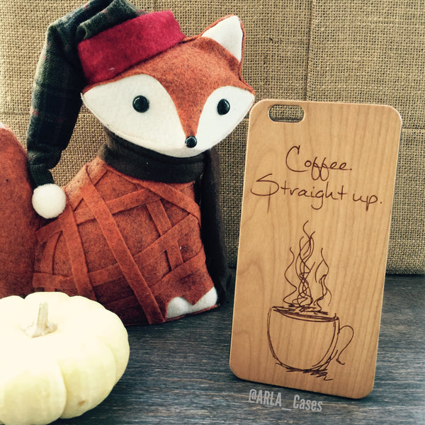 Coffee Straight Up - Doodled Mug Design Wood Phone Case