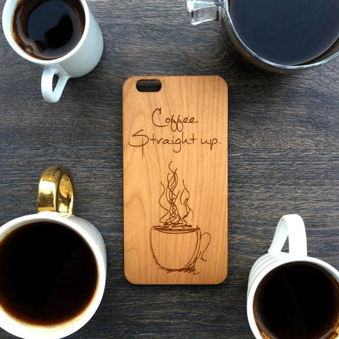 Coffee Straight Up Wood iPhone and Galaxy Phone Case