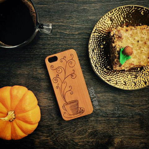 Coffee Cup Wood iPhone and Galaxy Phone Case