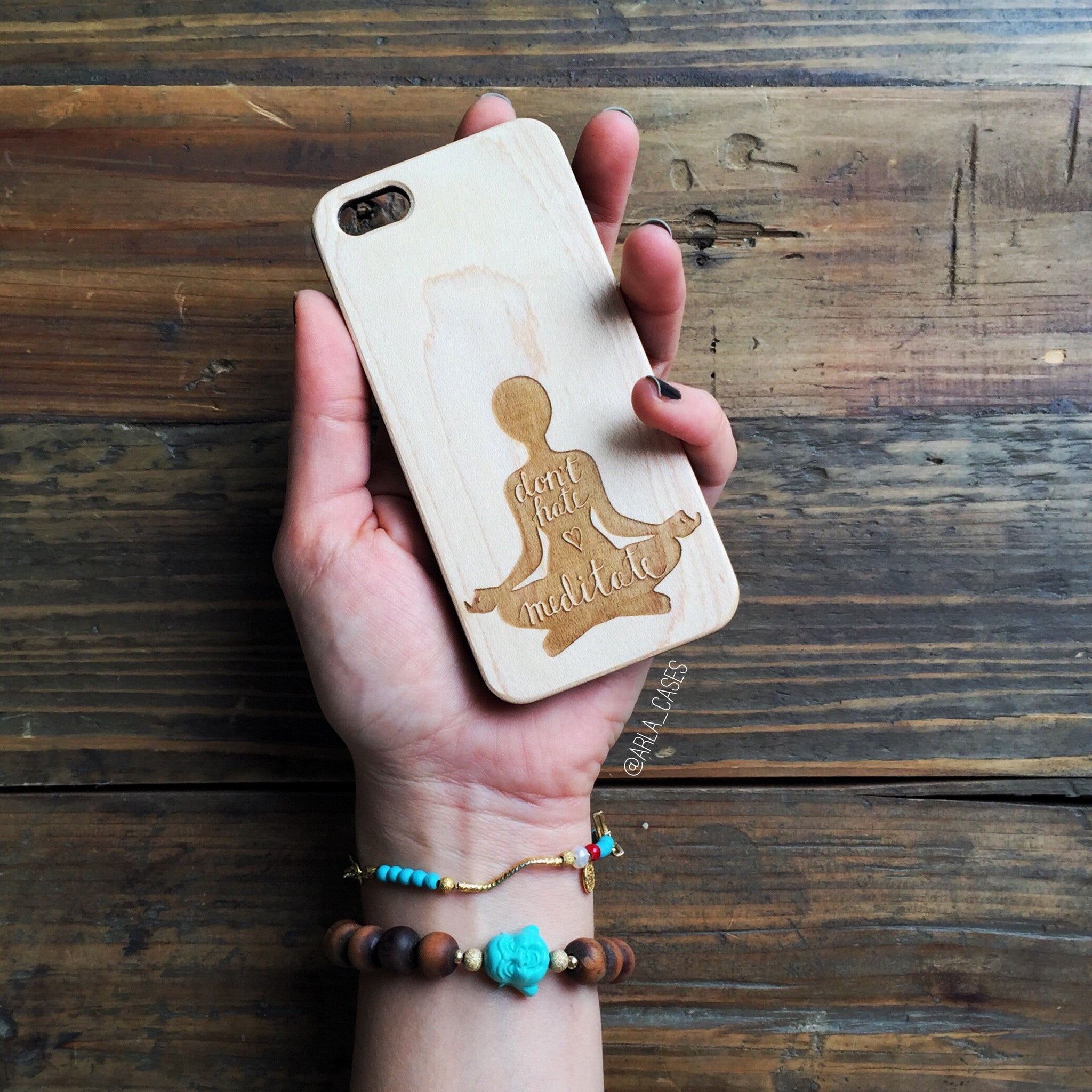 Don't Hate, Meditate Wood iPhone Case
