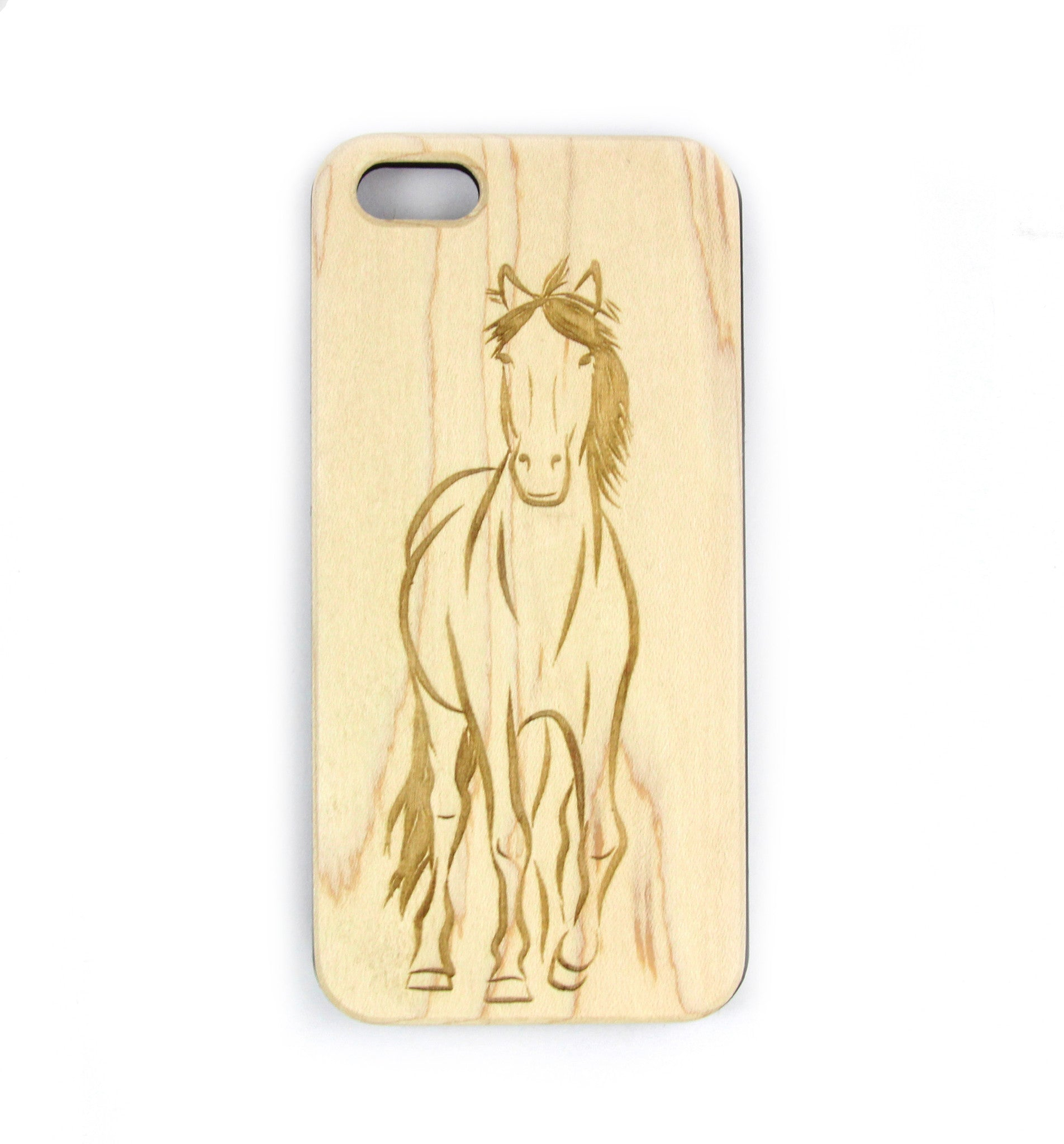 Horse Outline Wood Phone case for iPhone and Galaxy Phones