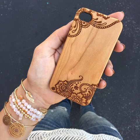 Lace Pattern Wood Phone Case