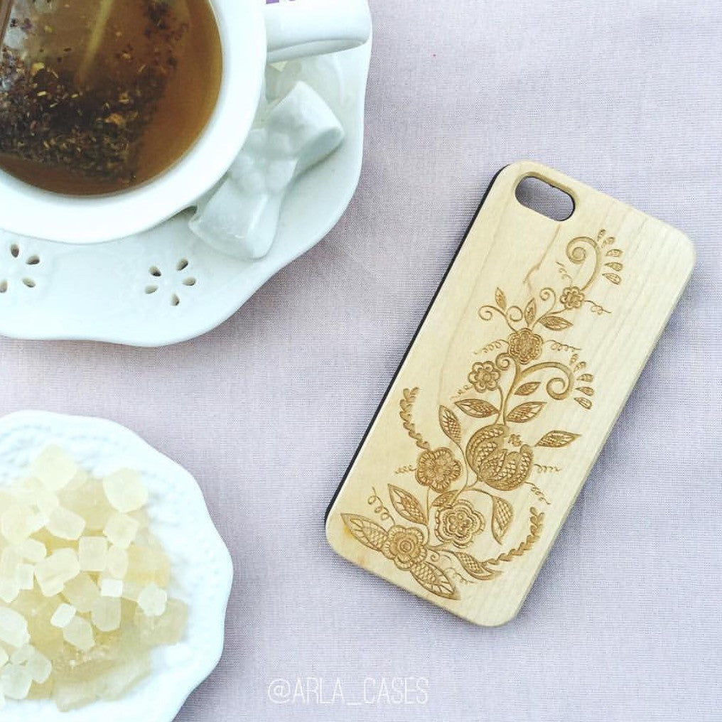 Ornate Floral Pattern Wood Phone Case