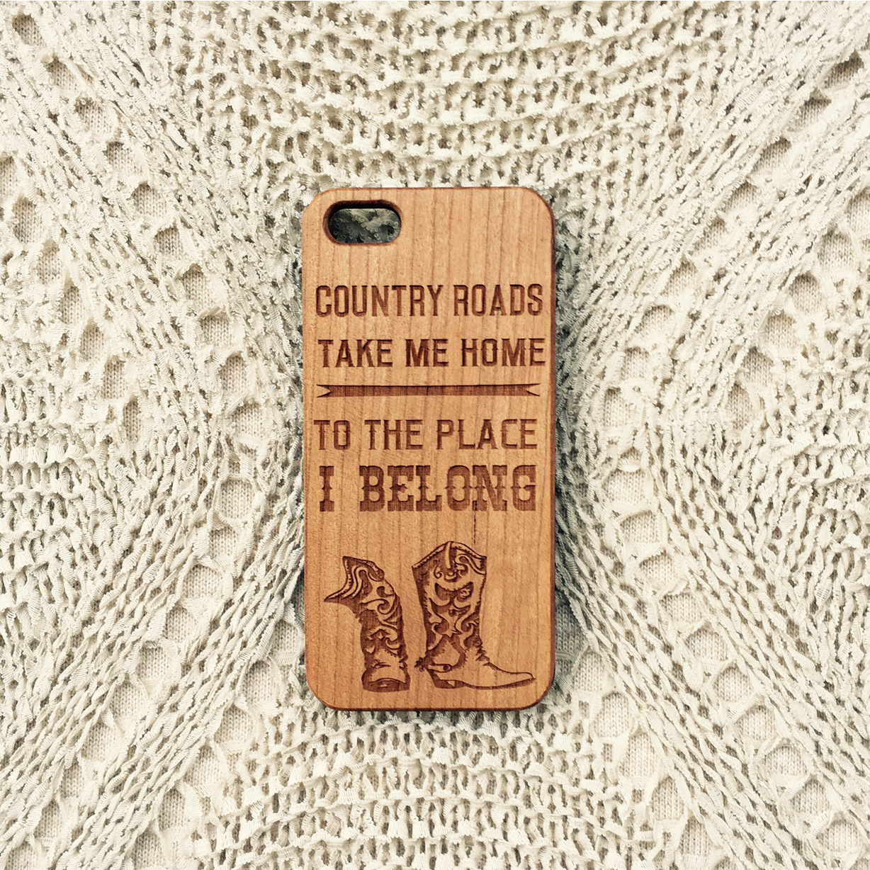 Country Roads, Take Me Home To The Place I Belong Wood iPhone Case