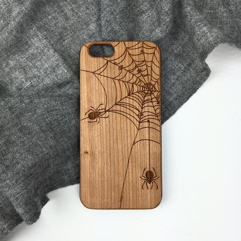 Spider Web Wood iPhone and Galaxy Phone Case