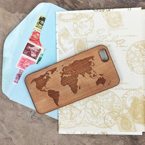 World Map Wood iPhone and Galaxy Phone Case