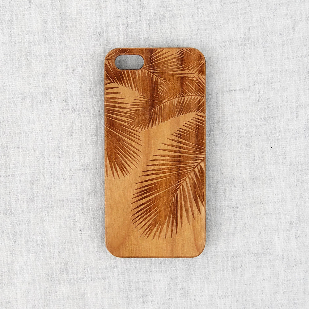 Palm Tree Wood Phone Case - Wood iPhone and Galaxy Case