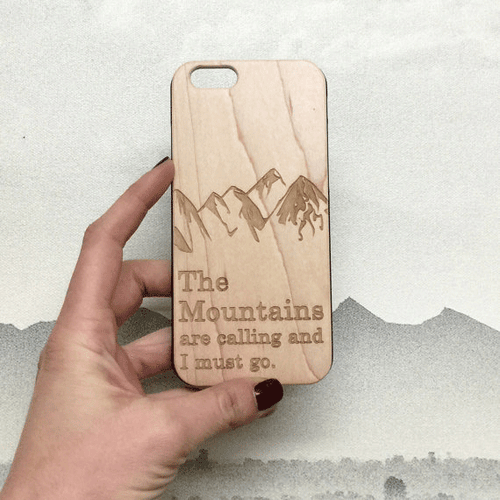 The Mountains are Calling Wood iPhone Case