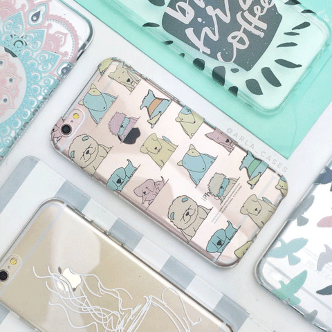 Pastel Dogs Clear iPhone and Galaxy Phone Case