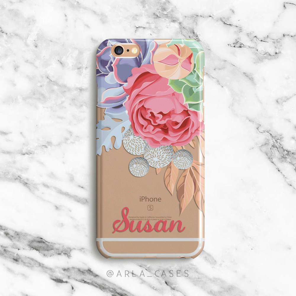 Custom Name Succulents iphone and Galaxy Phone Case