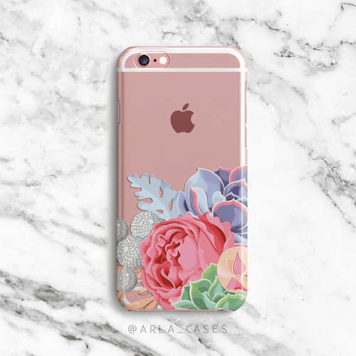 Succulent Clear iPhone and Galaxy Phone Case