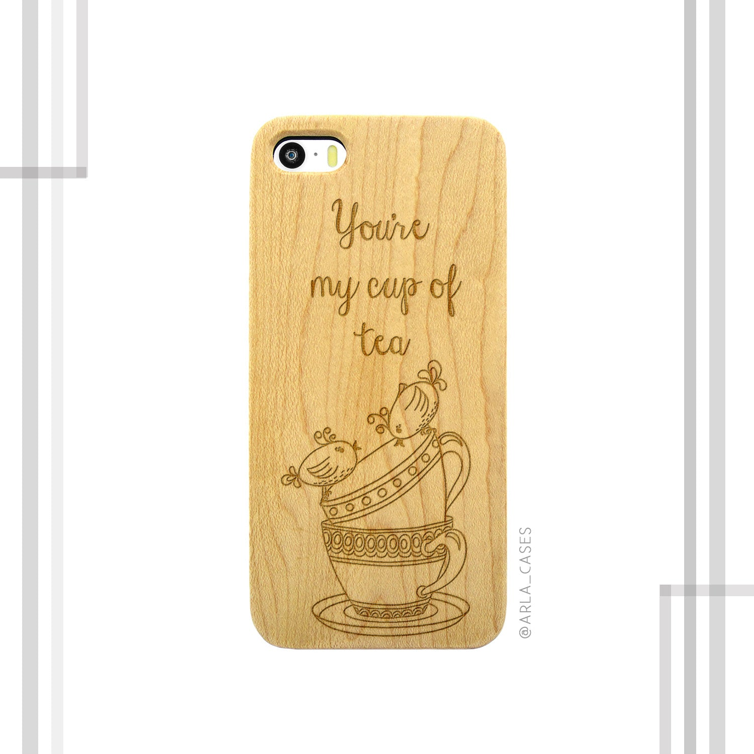 Cup of Tea Engraved on Wood iPhone Case